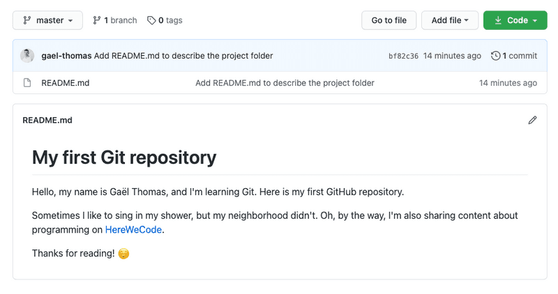 "Repository page with ""README.md"" file"