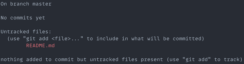 Git status command output: before Git add command